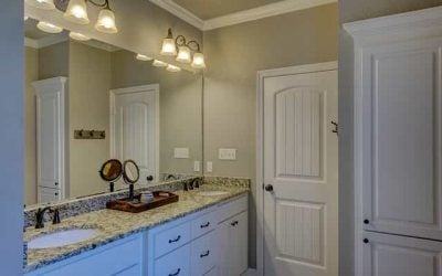 Brighten a windowless bathroom